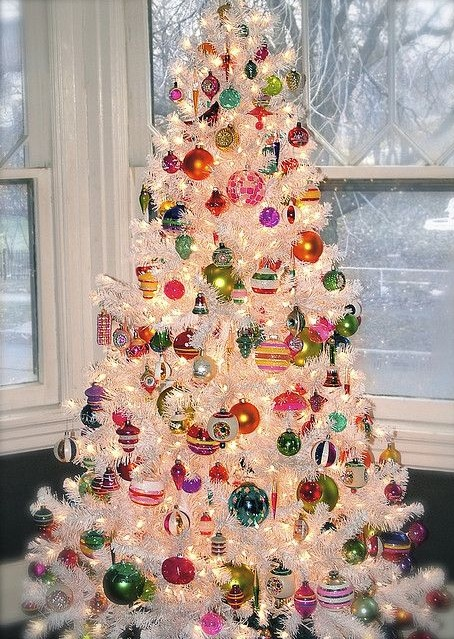 Ravishing White Christmas Tree Decorated With Colorful Ornaments
