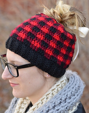 Red And Black Gingham Pattern Cap