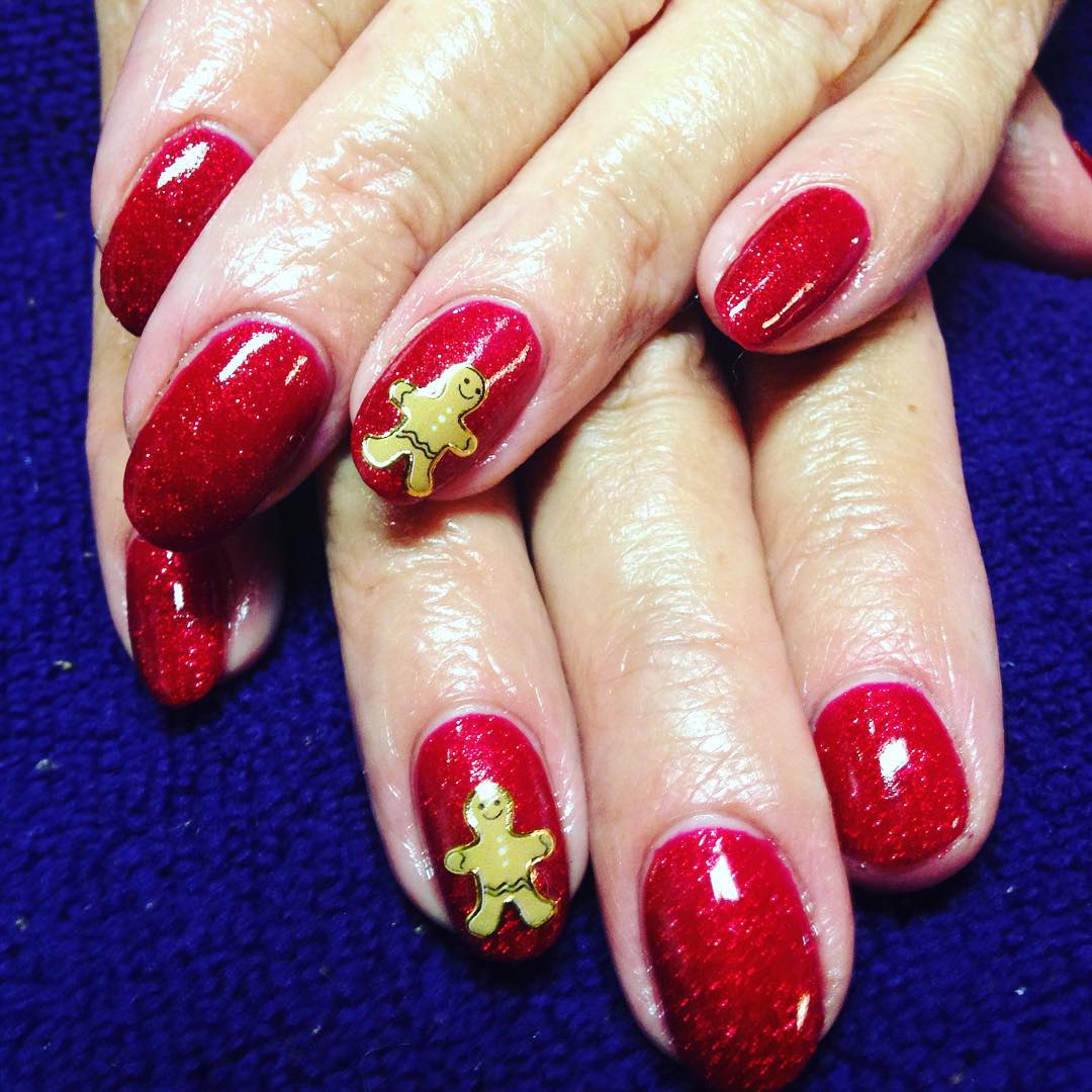 Red Nails With Ginger Breadman