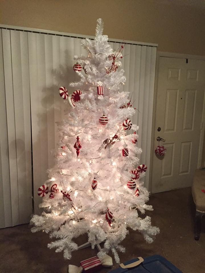 Red Ornaments On White Christmas Tree