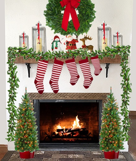 Red and white stockings, garland, wreath and small Christmas tree for Mantel decoration. Pic by sawdust.interiors