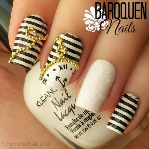 Remarkable Black & White Stripes Nails With Golden Studs