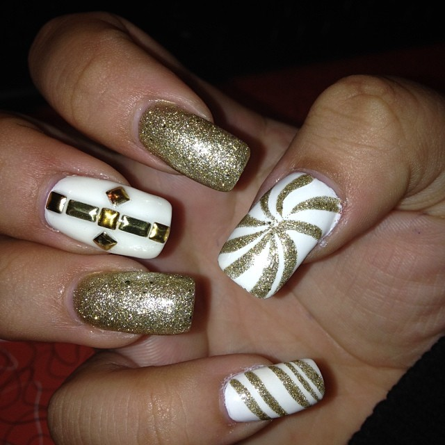 Rich White And Golden Nails