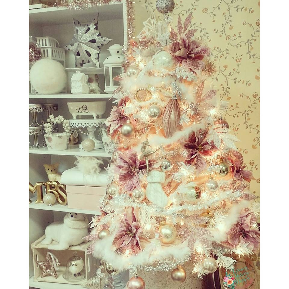 Rocking Pink And Golden Ornaments On White Tree
