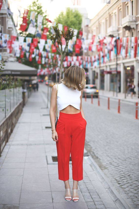 Rocking Red Cropped Pant With Stylish White Top