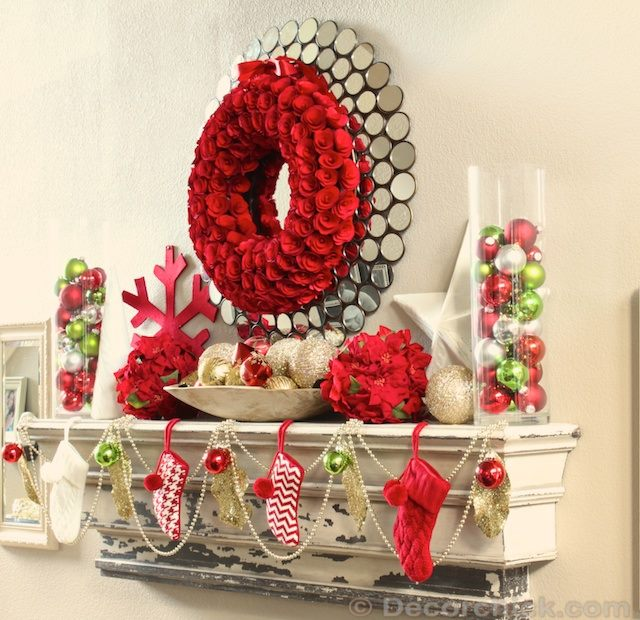 Rocking Red Mantlel Decoration With Red & White Stocking