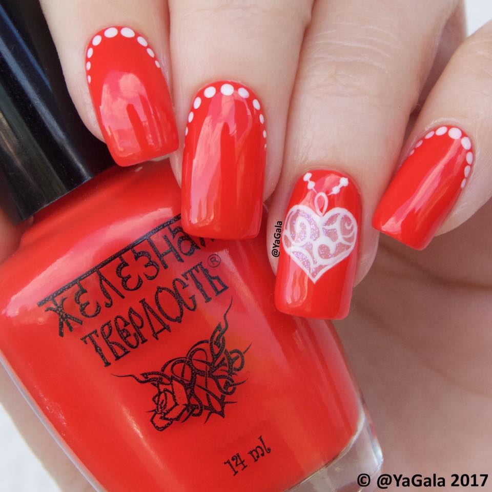 Rocking Red Nails With White Dots & Heart