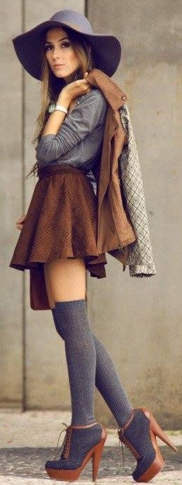 Rocking Suede Mini Skirt, Full Sleeves Top, Stockings, Hat And Leather Jacket