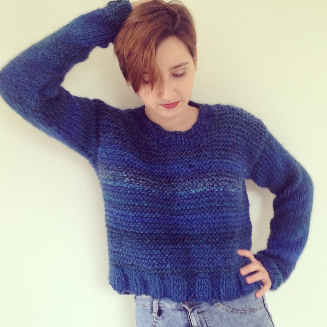 Royal Blue Hand Knit Short Sweater