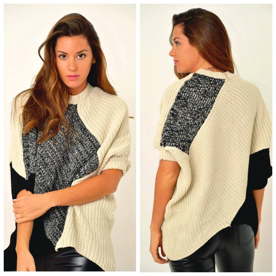Sassy Double Tone Half Sleeve Oversized Sweater