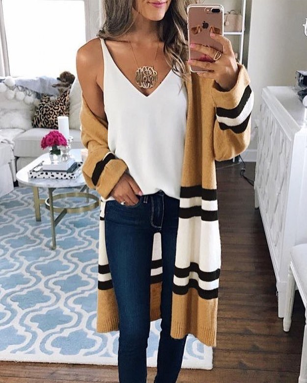 Sassy Long Open Front Cardigan With White V-Neck Top And Blue Jeans