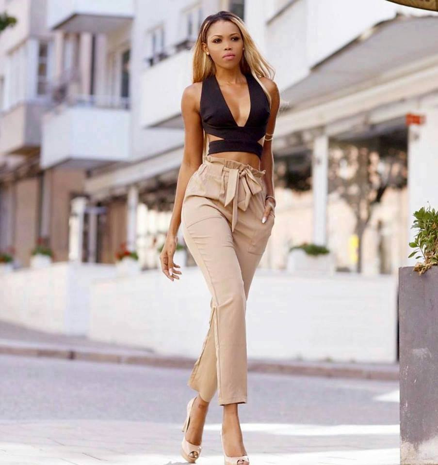 Sassy Nude High waist Bow Tie Crop Pant With Stunning Top And Open Toe Heels