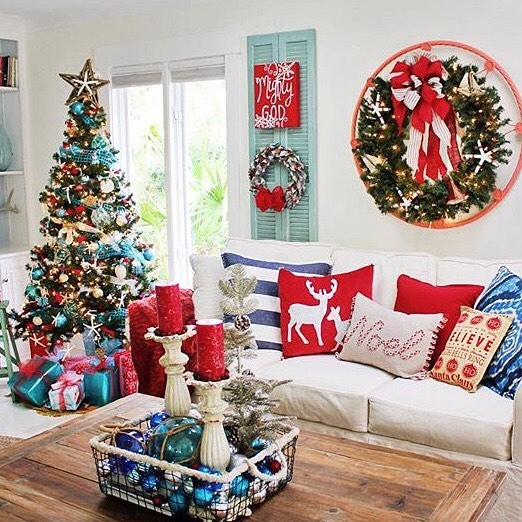 Sassy Red And Turquoise Christmas Tree Decor With Reindeer Print Pillow Cover, Beautiful Red Candles