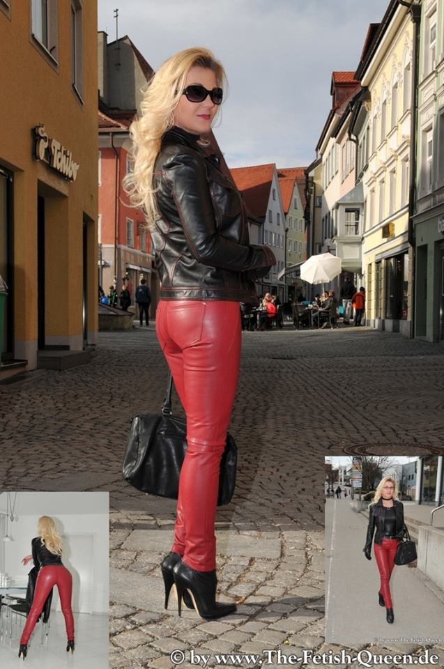 Sassy Red Leather Pant With Black Leather Jacket And Pencil Heels