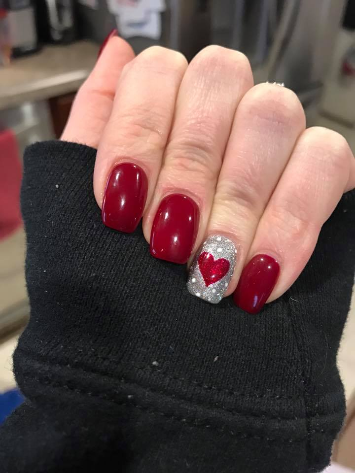 Sassy Red & Silver Nails - 50+ Cute Valentine's Day Nail Art Design As A Lovely Reminder Of Love