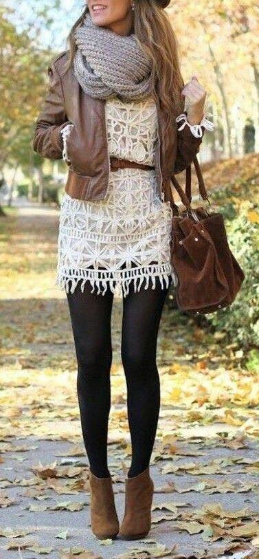 Sassy Short Cream Dress, Leather Jacket, Stockings And Woollen Scarf With Leather Ankle Boots