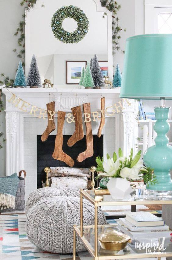 Shabby Chic Christmas Mantel Decoration