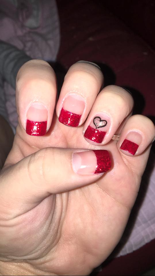 Simple Acrylic Red Nails With Heart