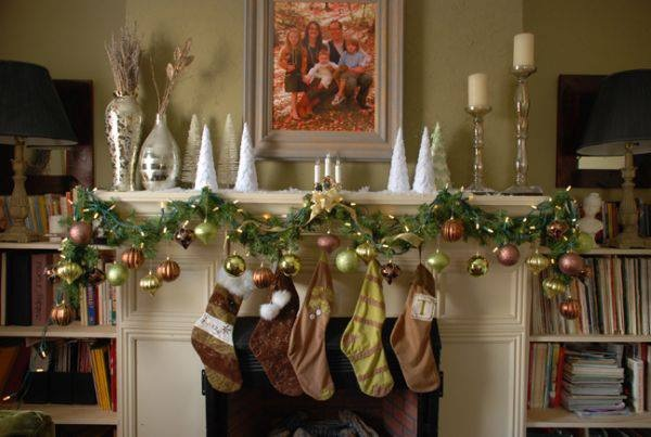Simple Mini Trees Used To Decorate Mantel With Lovely Ornaments