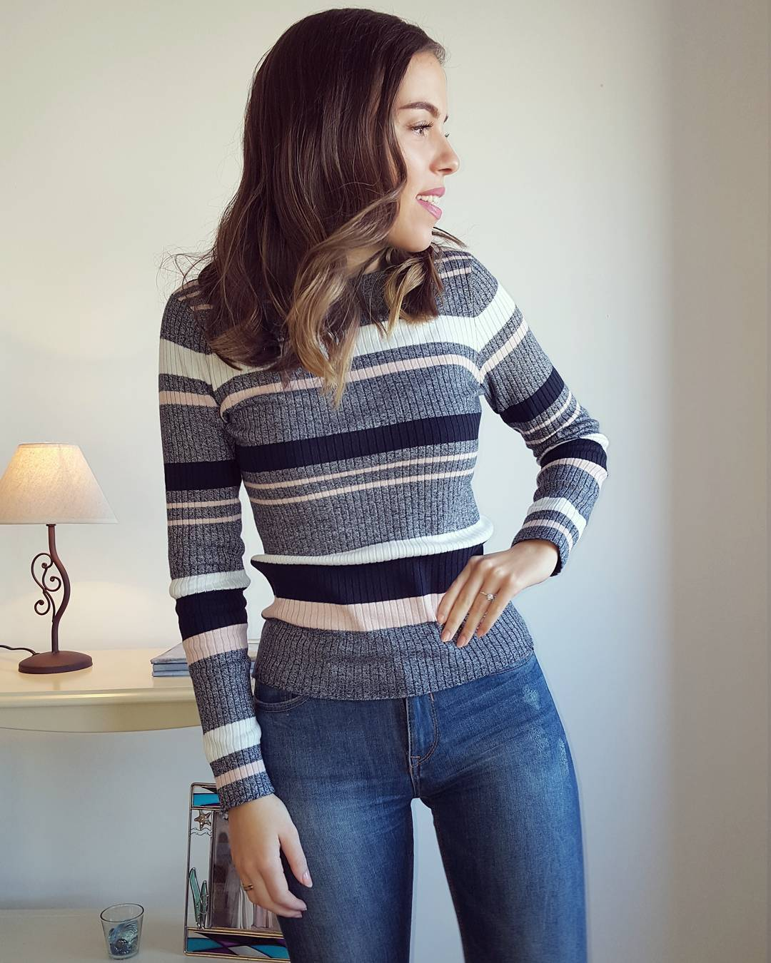 Simple Stripes Sweater With Blue Denim Jeans