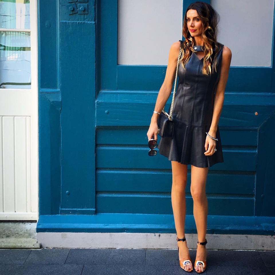 Smart Navy Blue Short Leather Dress