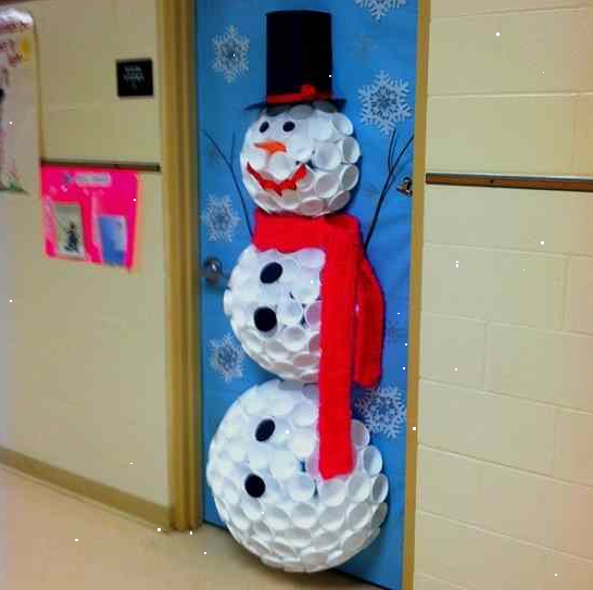 Snowman On Door Made By Used Cup
