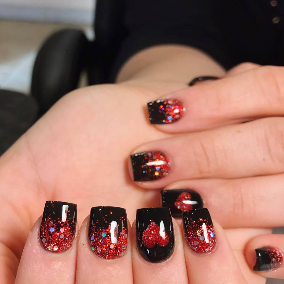 Sparkly Short Square Red & Black Nails For Valentines Day