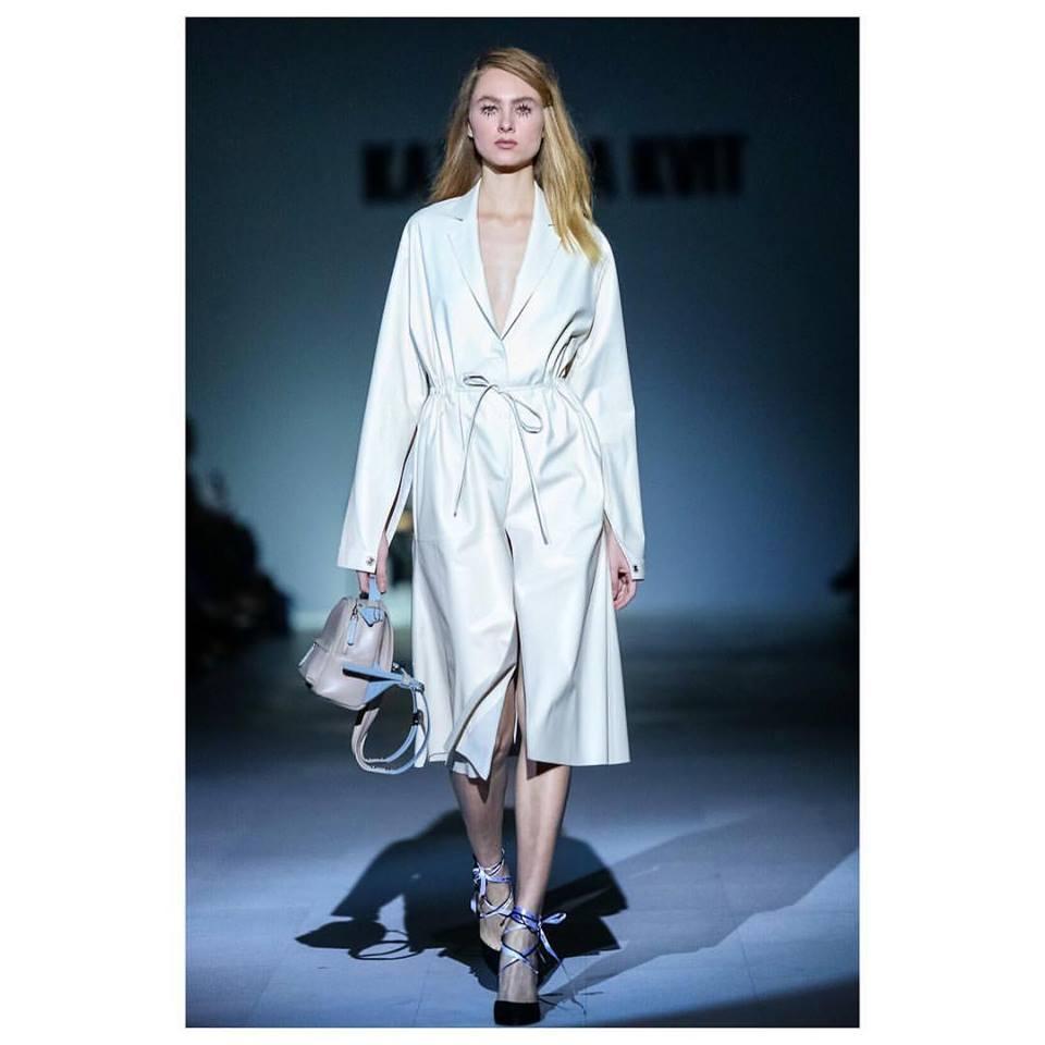 Splashed Wrap White Leather Dress