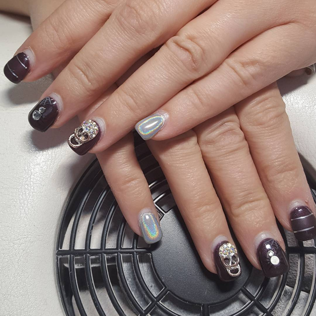 Square Short Winter Party Nails