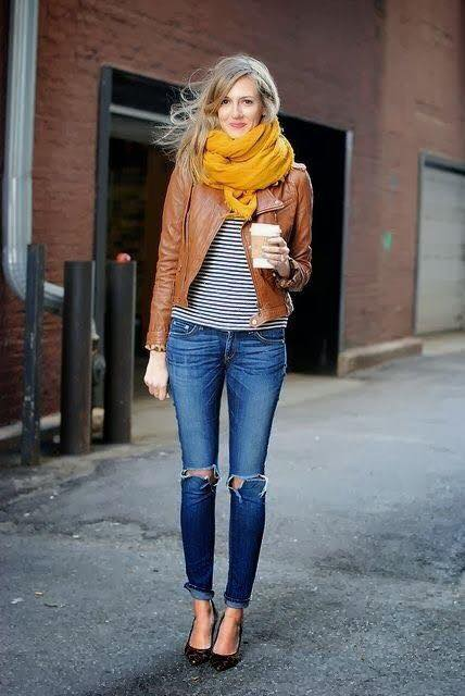Stripes Top Paired With Ripped Jeans, Leather Jacket And Mustard Woolen Scarf