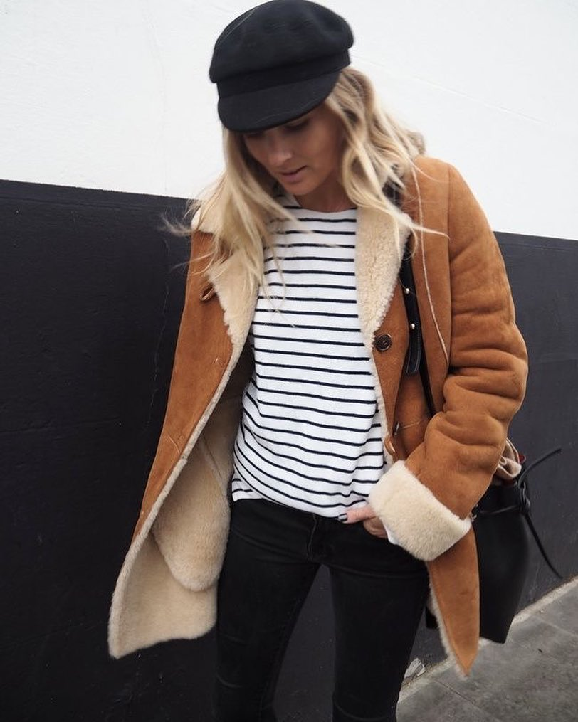 Stripes Top With Black Jeans, Warm Jacket And Cap