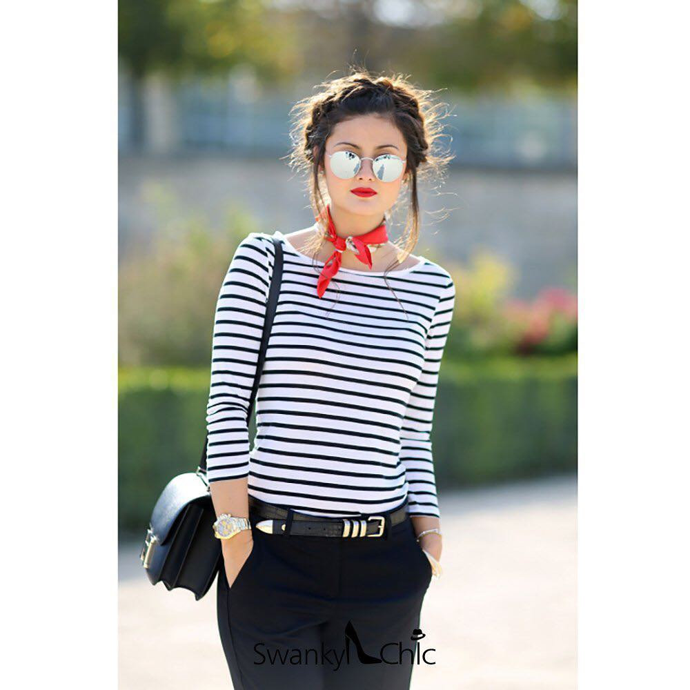 Stripes Top With Leather Pant