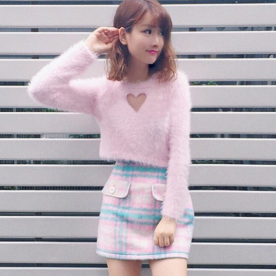Stunning Baby Pink Heart Cutout Fluffy Short Sweater With Long Sleeves