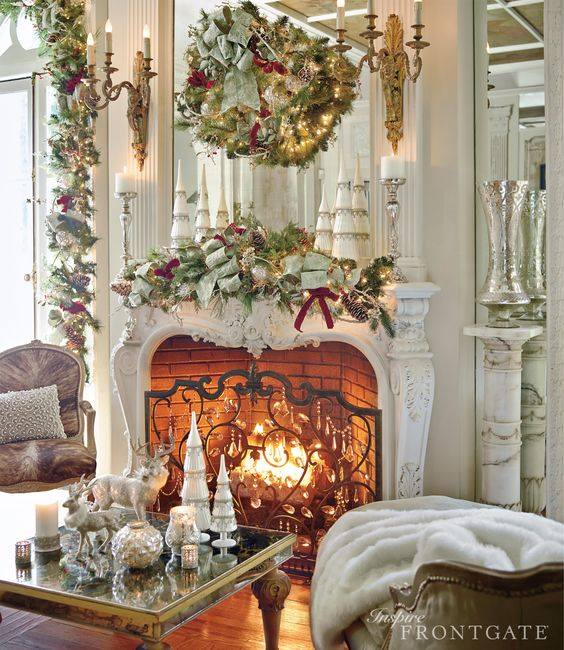 Stunning Mantel Decoration With Ribbon, Tree And Ornaments