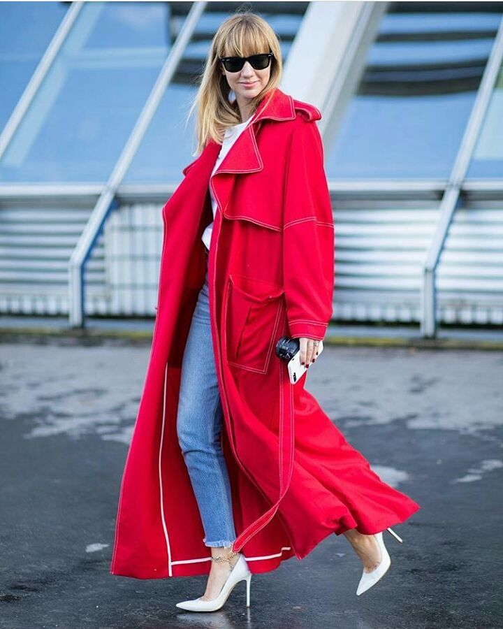 Stunning Red Long Coat For Cold Weather With Denim Jeans And White Top