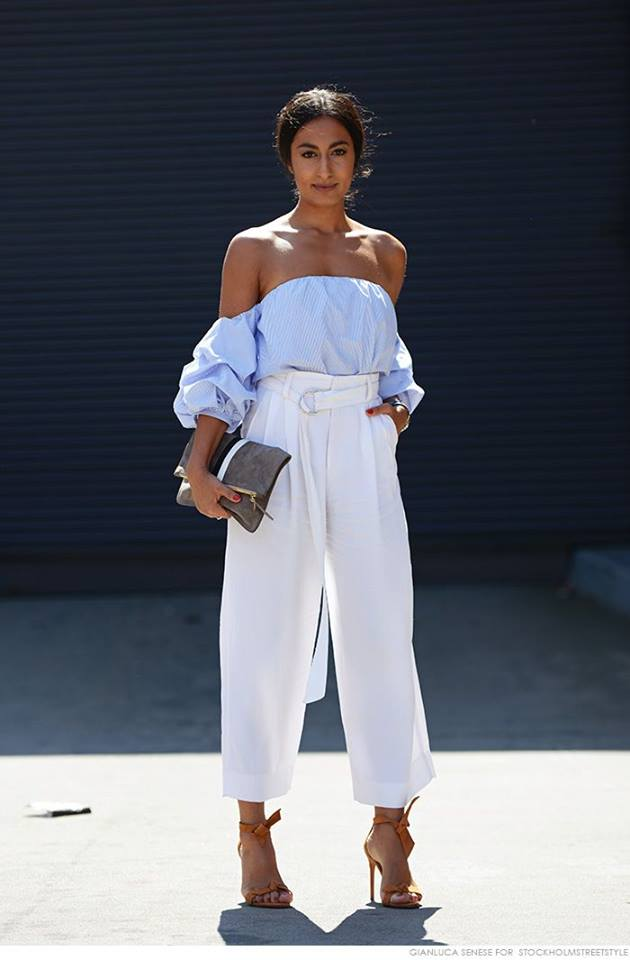 Stunning White Cropped Pant With Off The Shoulder Light Blue Top And High Heels
