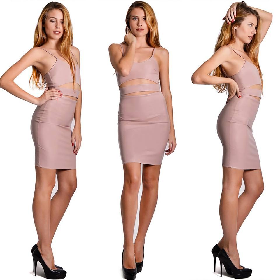 Stylish Pink Leather Dress