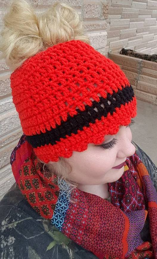 Stylish Red Ponytail Or Messy Bun Cap Design