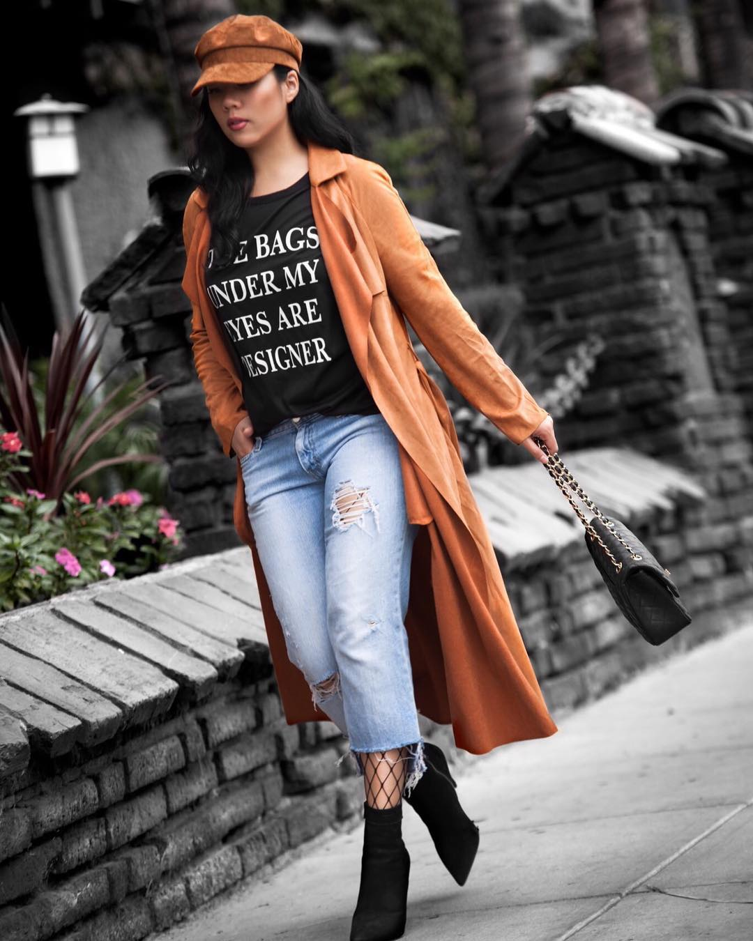 Superb Ripped Crop Jeans, Black T-Shirt Paired With Lovely Coat, Cap, Suede Ankle Shoes And Medium Flap Bag