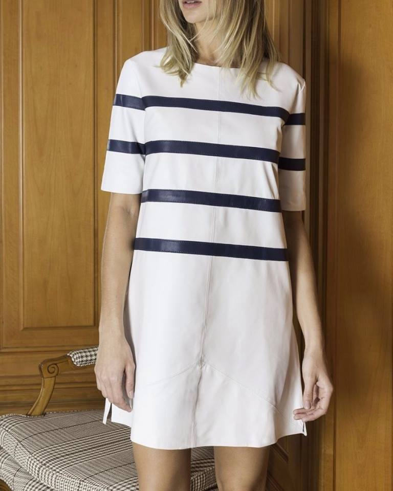 Swanky Cream Leather Dress With Black Stripes