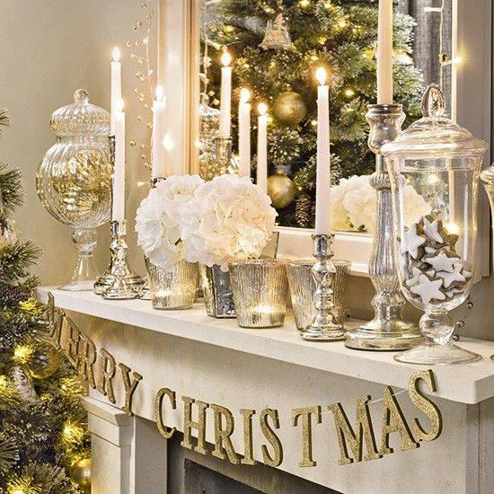 Swanky Mantel Decor With Ornaments, Letter Garland, Candles And Flowers