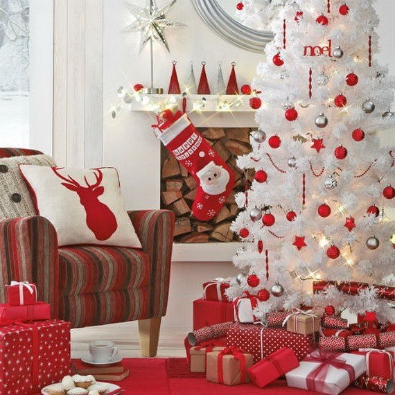 swanky red and silver christmas ornaments and ribbon decor - White Christmas Tree With Red Decorations