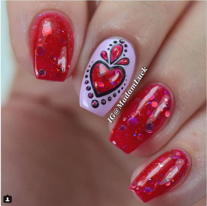 Swanky Red Nails With Fabulous Heart