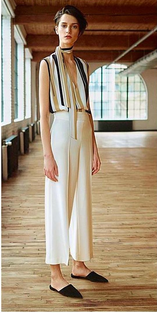 Swanky Stripes Top Paired With Cream Crop Pant And Flats