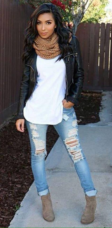 Swanky White Top Paired With Ripped Jeans , Leather Jacket,Knitted Scarf And Ankle Booties