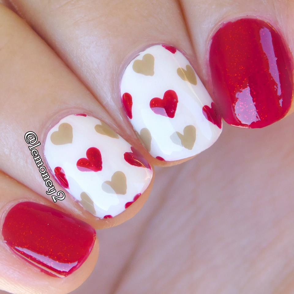 Sweet Red & Nude Little Hearts Nails Design