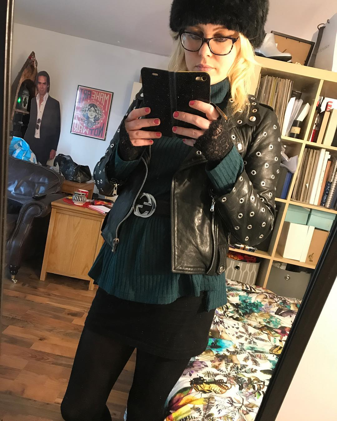 Teal Ribbed Sweater With Jeans And Short Leather Jacket