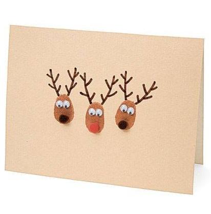 Thumbprint Reindeer DIY Christmas Card