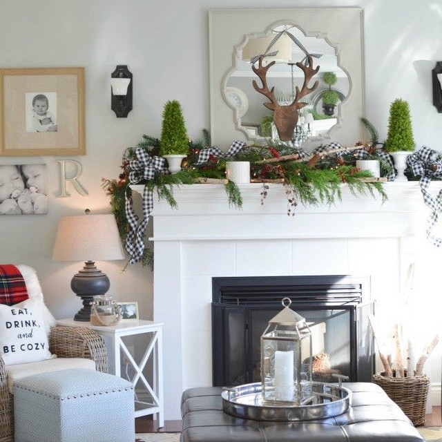 Traditional Christmas mantel decoration with plaid cloth, reindeer and tree. Pic by kerripopofprettyblog