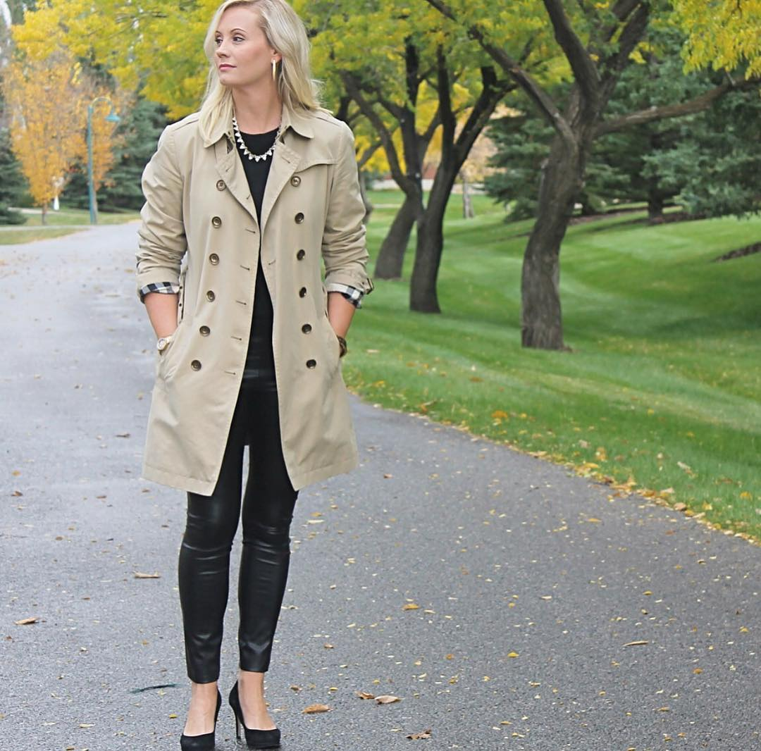 Trench Coat Worn With Black To And Leather Pant